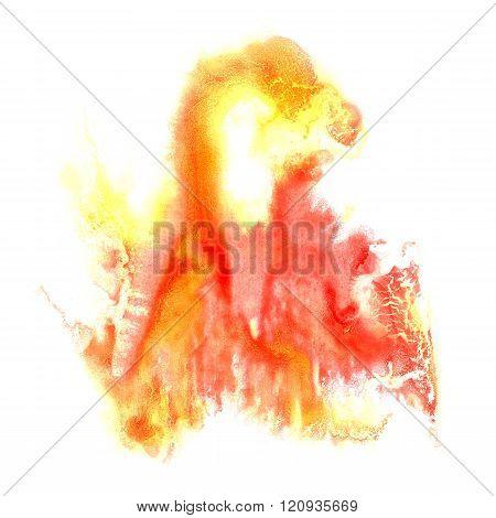 paint splash color Red Yellow ink watercolor isolated stroke splatter watercolour aquarel brush