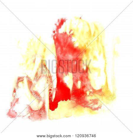 paint splash Red Yellow color ink watercolor isolated stroke splatter watercolour aquarel brush