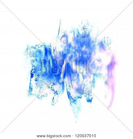 paint violet blue splash color ink watercolor isolated stroke splatter watercolour aquarel brush