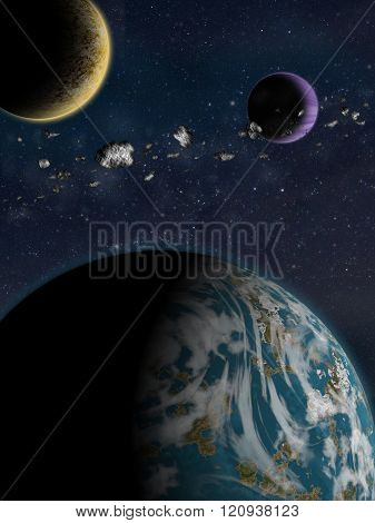 Alien Planet Sci-fi Scene. Artist's Rendition.