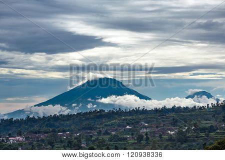 Gunung Sumbing and Sindoro volcanoes on Java, Indonesia