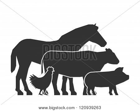 Black farm animals on a white background. Vector logo for farmers market. Farm animals symbol. Black silhouette horse pig cow and chicken.