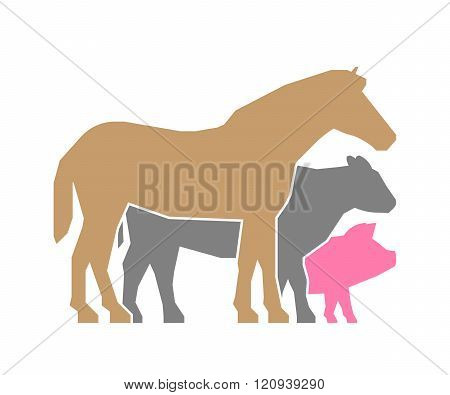 Vector farmers market icon. Farmers market logo on a white background. Colored farm animals. Farm animals symbol. Vector silhouette horse pig and cow .
