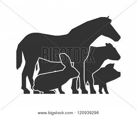 Farmers market logo. Vector farmers market symbol on a white background. Black farm animals icon. Farm animals symbol. Vector silhouette horse pig cow and rabbit.