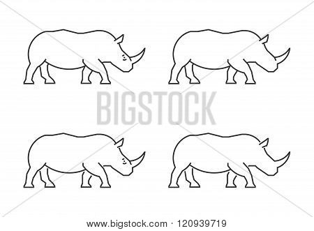 Outline rhino on a white background. Vector silhouette rhinoceros. Modern rhino icon. Linear rhinoceros set.