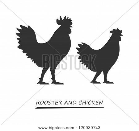 Black Vector Silhouette Chicken And Rooster.