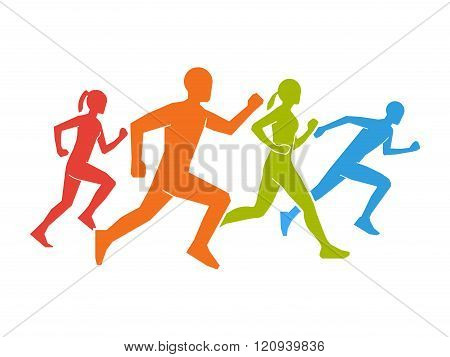 Colored silhouettes of runners. Flat vector figures marathoner. Flat running symbol. Vector running and marathon logo. Flat shapes runners.