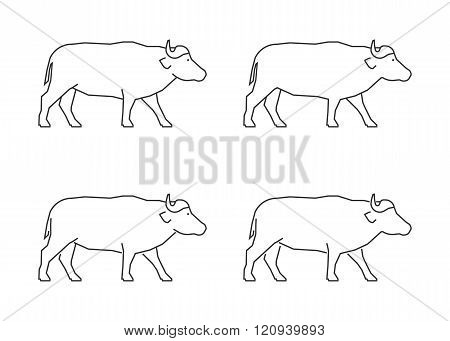 Outline african buffalo on a white background. Vector line silhouette buffalo. Modern linear african buffalo icon.