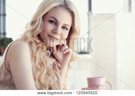 Beautiful woman with blonde hair