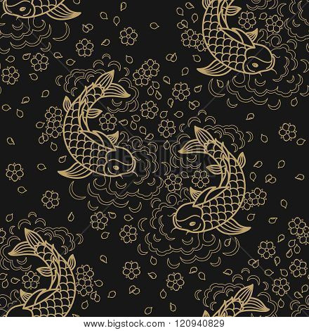 Fish Seamless Line Pattern