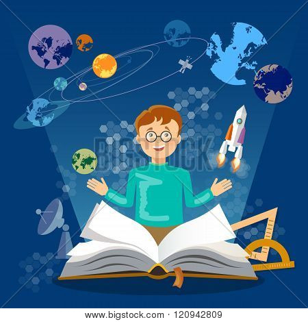 Education Open Book Knowledge Schoolboy Studying Astronomy And Space