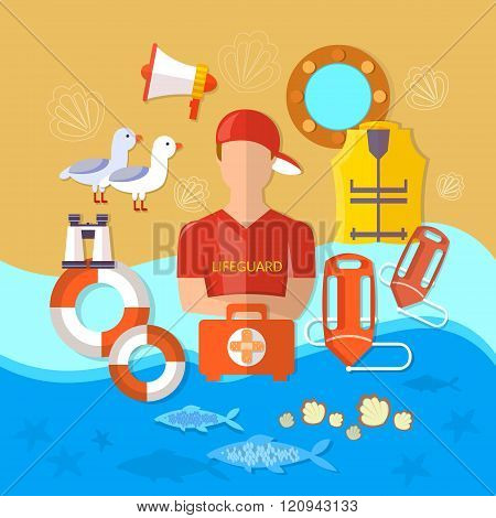 Professional  Beach Lifeguard