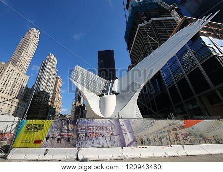 The state-of-the-art World Trade Center Transportation Hub designed by Santiago Calatrava