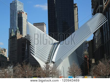 The state-of-the-art World Trade Center Transportation Hub designed by Santiago Calatrava