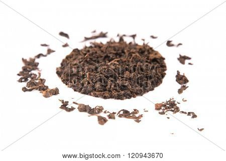 Roasted Tieguanyin, Oolong tea, isolated on white background