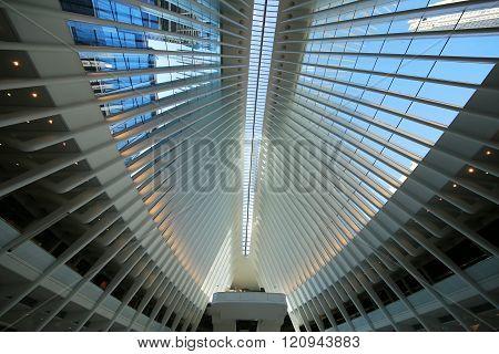 Inside the Oculus of the New World Trade Center Transportation Hub designed by Santiago Calatrava