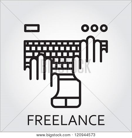 Black flat Line vector icon with a picture of keyboard hand