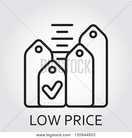 Black flat Line vector icon with a picture of low price