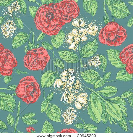 Vintage seamless pattern with red roses and jasmine on green background