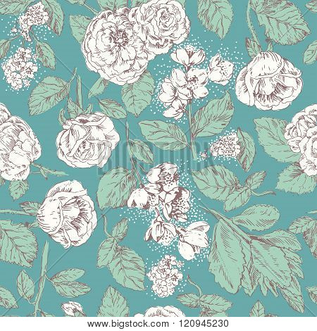 Vintage seamless pattern with white roses and jasmine on blue background