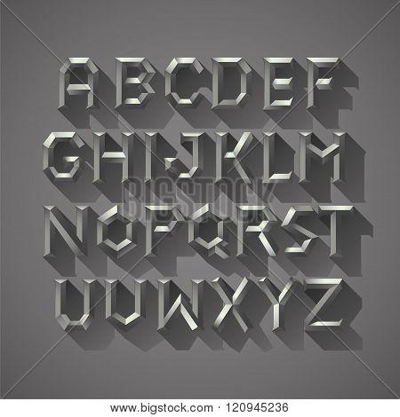 Alphabet font Silver metal Block of Ancient Greece Letters