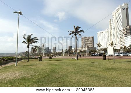 Hotels Lining Beach Front Promenade In Durban, South Africa