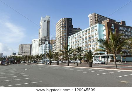 Hotels Lining Golden Mile In Durban, South Africa