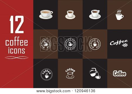 Set Of Coffee Icons On The Dark Background