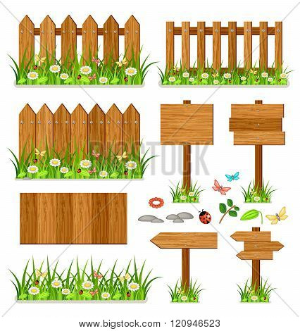 Wooden Fence Set With Grass And Flowers