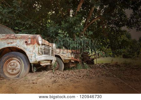 Old Antique Vehicle Car In Vintage Retro Colour Style