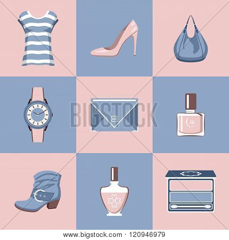 Fashion Set In A Style Flat Design. Vector