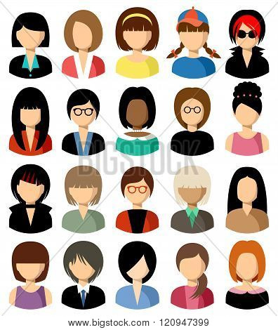 Set Of Flat Icons Set With Women.
