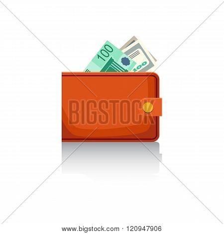 Wallet With Banknotes On A White Background. Vector Illustration