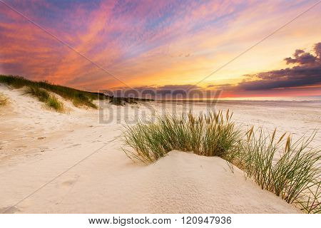 Beautiful sunset at Slowinski National Park in Poland - Baltic sea