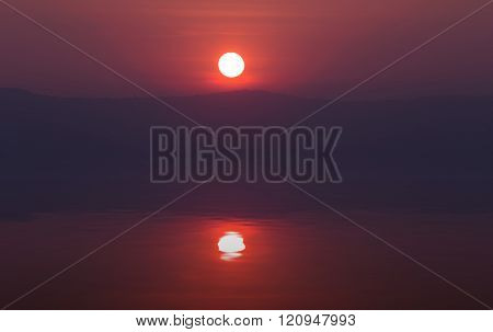 Sunset With Mountain With Water Reflection, View From Pha Keb Tawan,  Thailand