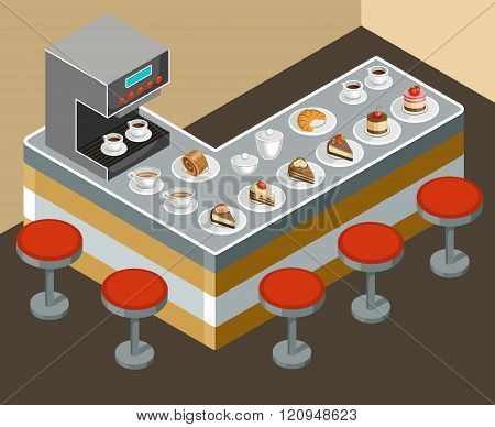 Vector illustration of a coffee house. Coffee maker. Interior