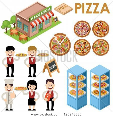 Vector set of pizza. Waiters building of a pizzeria. Types of pizza on a white background