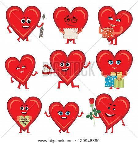 Vector hearts of Valentine's Day. Cheerful with persons and characters.