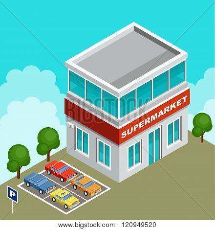 Vector illustration of a supermarket. Parking with cars