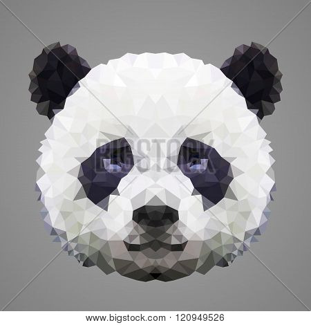 Panda low poly portrait