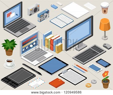 Flat isometric vector workspace. laptop tablet books camera office graphic tablet lamp coffee
