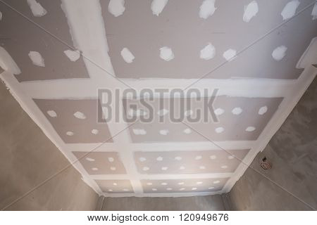 gypsum board ceiling of house at construction site