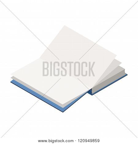 The vector image of isometric book in the opened look