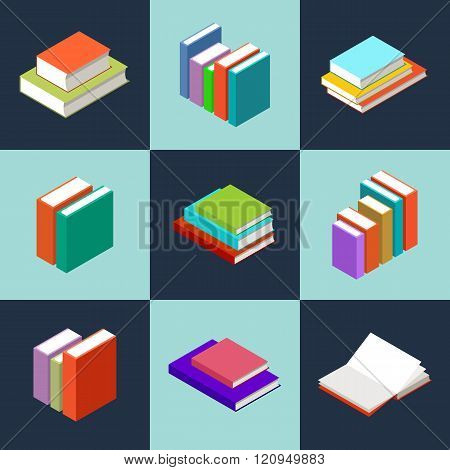 The vector image of isometric books in the opened and closed look