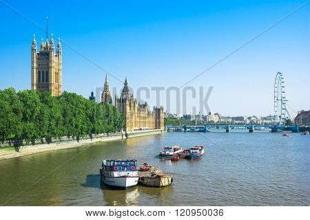 Houses Of Parliament And Thames River, London, Uk