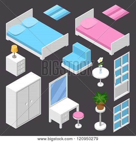 Vector isometric furniture white color on the dark background