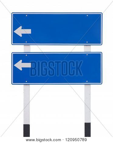 Two Blue Empty Traffic Sign With Arrow Isolated On White