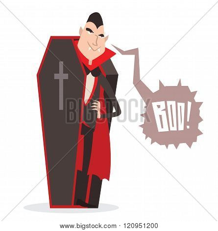 Cartoon Dracula Halloween vector illustration. Funny character