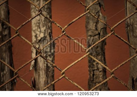 Sepia Colour Tone Old Rusty Balustrade And Wood Background