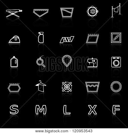 Cloth care sign line icons with reflect on black stock vector